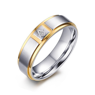 Muškarci Band Ring Prstenovi za utore 1pc Srebro Titanium Steel Jednostavan Profesionalac Jewelry Klasičan Dvobojna