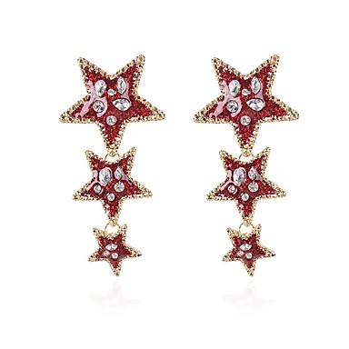 Žene Long Viseće naušnice - Umjetno drago kamenje Csillag dame Stilski Klasik Jewelry Crvena / Zelen / Lila-roza Za Dnevno 1 par