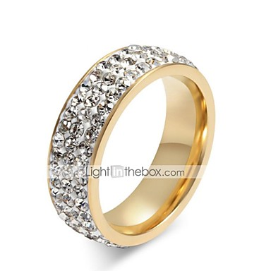 olcso Karikagyűrűk-Női Band Ring Gyűrű Örökkévaló gyűrű Kocka cirkónia Moissanite 1db Fehér Titanium Acél Circle Shape hölgyek Stílusos Csing Csing Esküvő Ajándék Ékszerek Kazal