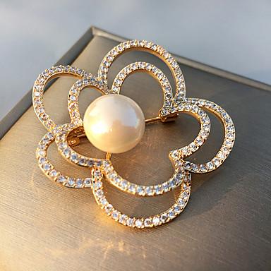 Žene Kubični Zirconia Broševi Cvijet dame Korejski Biseri Pozlaćeni Broš Jewelry Zlato Za Ulica