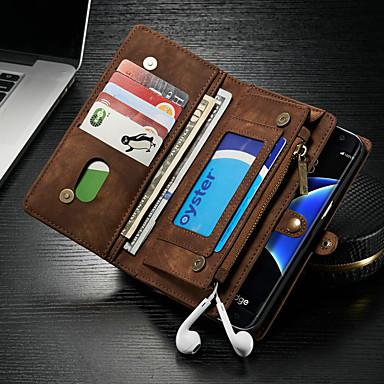 Недорогие Чехлы и кейсы для Galaxy S-Кейс для Назначение SSamsung Galaxy S7 edge Кошелек / Бумажник для карт / со стендом Чехол Однотонный Твердый Кожа PU