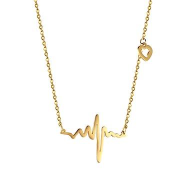 Žene Ogrlice s privjeskom zdepast otkucaj srca dame Moda Tikovina Zlato Crn Pink 53 cm Ogrlice Jewelry 1pc Za Dar Dnevno