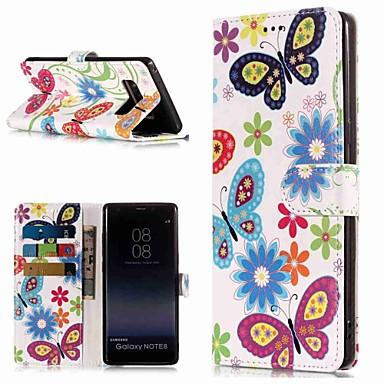 Недорогие Чехлы и кейсы для Galaxy Note-Кейс для Назначение SSamsung Galaxy Note 9 / Note 8 Кошелек / Бумажник для карт / со стендом Чехол Бабочка Твердый Кожа PU