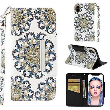 Недорогие Кейсы для iPhone 7-Кейс для Назначение Apple iPhone XS / iPhone XR / iPhone XS Max Кошелек / Бумажник для карт / со стендом Чехол Мандала / Цветы Твердый Кожа PU