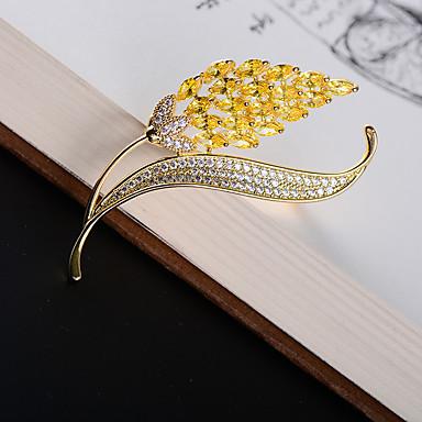 Žene Kubični Zirconia Broševi Klasičan Šiljak dame Korejski 18K Gold Austrijski kristal Broš Jewelry Zlato Za Ulica