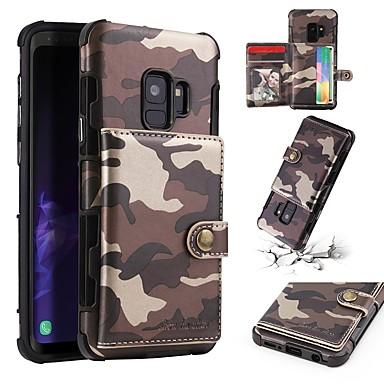 voordelige Galaxy S-serie hoesjes / covers-hoesje Voor Samsung Galaxy S9 / S9 Plus Portemonnee / Kaarthouder / Schokbestendig Achterkant Camouflage Kleur Zacht PU-nahka