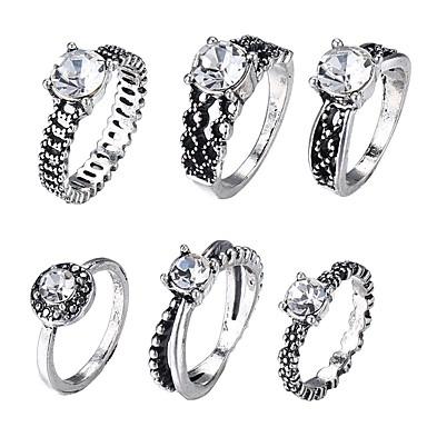 Žene Prstenasti set Midi prstenje Prstenovi koji se mogu slagati 6kom Srebro Legura dame Romantični Jabuka Festival Jewelry Vintage Style