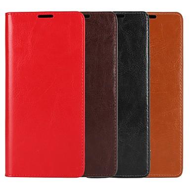 Недорогие Чехлы и кейсы для Galaxy Note-Кейс для Назначение SSamsung Galaxy Note 9 / Note 8 / Note 5 Кошелек / Бумажник для карт / со стендом Чехол Однотонный Твердый Настоящая кожа