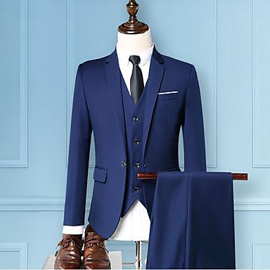 Muškarci Party Osnovni Veći konfekcijski brojevi Normalne dužine odijela, Jednobojni Klasični rever Dugih rukava Poliester Sive boje / Lila-roza / Navy Plava / Slim
