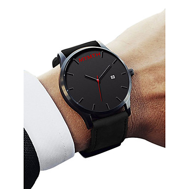 Muškarci Ručni satovi s mehanizmom za navijanje Kvarc Umjetna koža Crna / Smeđa 30 m Vodootpornost Kalendar Analog Ležerne prilike Moda - Obala Crn Braon