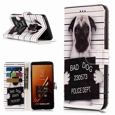 voordelige Galaxy A-serie hoesjes / covers-hoesje Voor Samsung Galaxy A3 (2017) / A5 (2017) / A8 2018 Portemonnee / Kaarthouder / met standaard Volledig hoesje Hond Hard PU-nahka