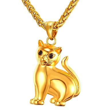 Muškarci Ogrlice s privjeskom kameja Mačka Moda Slatka Style Tikovina Zlato Pink 55 cm Ogrlice Jewelry 1pc Za Dar Dnevno