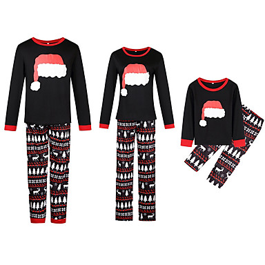 cheap Family Matching Outfits-Family Look Basic Christmas Daily Geometric Christmas Long Sleeve Clothing Set Black