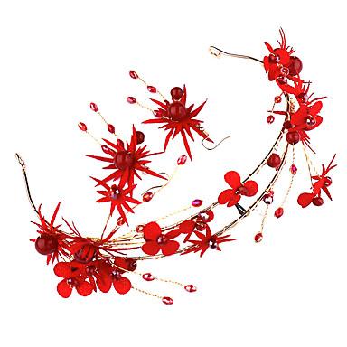 billiga Smyckeset-Dam Röd Pann-smycken Örhängen Set Vintage Stil Gypsophila Etnisk Oäkta pärla örhängen Smycken Röd Till Bröllop Party 1set