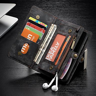 voordelige iPhone-hoesjes-hoesje Voor Apple iPhone XR Portemonnee / Kaarthouder / Schokbestendig Volledig hoesje Effen Hard PU-nahka