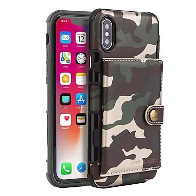 baratos Capinhas para iPhone7-Capinha Para Apple iPhone XS / iPhone XS Max / iPhone X Porta-Cartão / Antichoque / Anti-poeira Capa Proteção Completa Sólido / Côr Camuflagem Rígida PU Leather / PC