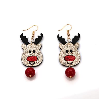 رخيصةأون أقراط-نسائي أقراط قطرة حلقات فينتاج Elk أيل كرة سيدات عتيق كرتون موضة الأقراط مجوهرات أحمر من أجل عيد الميلاد هدية 1 زوج