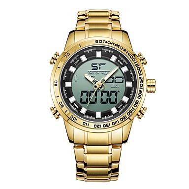 Muškarci Sportski sat digitalni sat Japanski Japanski kvarc Nehrđajući čelik Crna / Zlatna 30 m Vodootpornost Kalendar Svijetli u mraku Analogni-digitalni Moda - Crn Zlatna