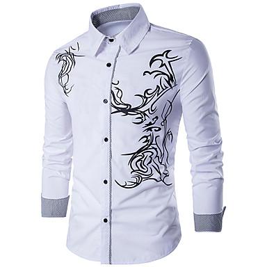 رخيصةأون قمصان رجالي-رجالي رياضي Active / أساسي قطن قميص, هندسي نحيل / كم طويل