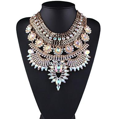 olcso Gallér-Női Gallér hölgyek Stílusos Klasszikus Túlzás Strassz Hamis gyémánt Ötvözet Arany 44+6.5 cm Nyakláncok Ékszerek 1db Kompatibilitás Napi