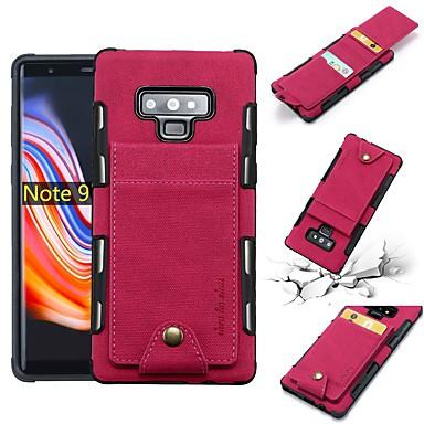 Недорогие Чехлы и кейсы для Galaxy Note-Кейс для Назначение SSamsung Galaxy Note 9 / Note 8 Кошелек / Бумажник для карт / Защита от удара Кейс на заднюю панель Однотонный Мягкий Кожа PU