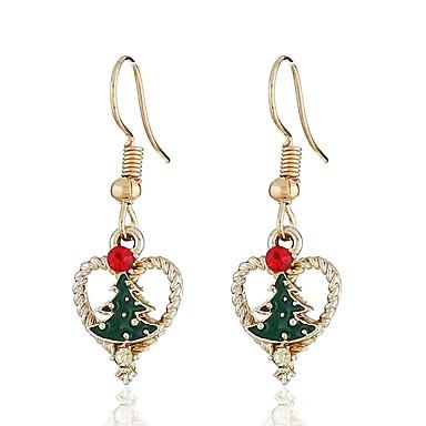 Žene Viseće naušnice Klasičan Long Božićno drvce dame Stilski Umjetnički Umjetno drago kamenje Naušnice Jewelry Zlato Za Božić 1 par