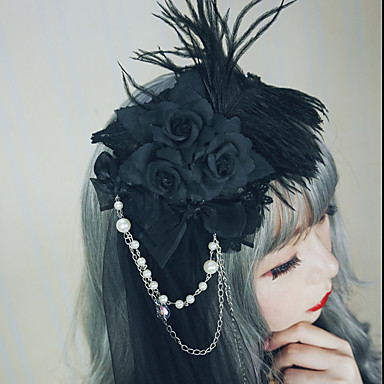 Crni labud Šeširi Trake za kosu Hair Clip Vintage Gothic Lolita Princess Lolita Gotika Imitacija bisera Tkanina Demin Legura Lolita oprema Za Maškare Škola Dnevni Nosite Žene Djevojčice Nakit odjeće