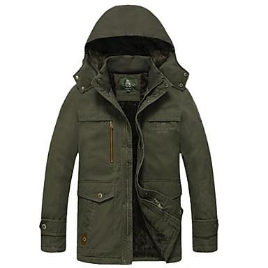 Muškarci Dnevno Jesen zima Normalne dužine Jakna, Jednobojni S kapuljačom Dugih rukava Poliester Vojska Green / Žutomrk