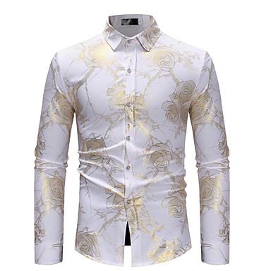 رخيصةأون قمصان رجالي-رجالي مناسب للحفلات / نادي ترف / أساسي طباعة قطن قميص, ورد / كم طويل