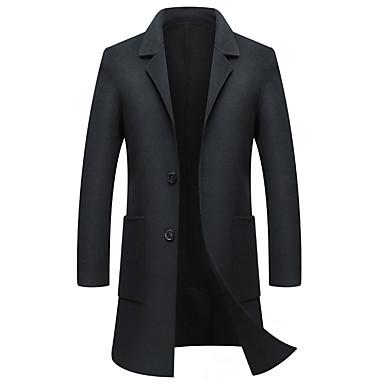 Muškarci Dnevno Ulični šik Dug Kaput, Jednobojni Rolled collar Dugih rukava Poliester Crn / Sive boje / Žutomrk