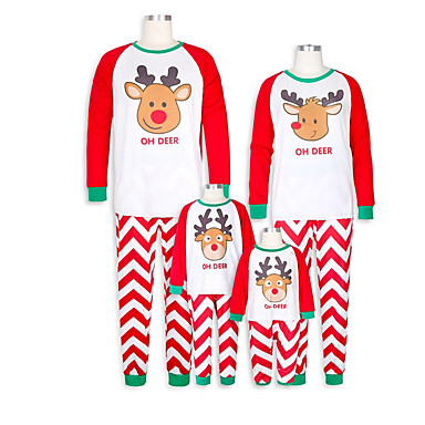cheap Family Matching Outfits-Family Look Basic Christmas Daily Geometric Christmas Long Sleeve Clothing Set Red