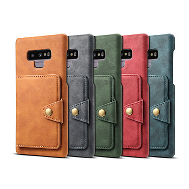 Недорогие Чехлы и кейсы для Galaxy Note-Кейс для Назначение SSamsung Galaxy Note 9 Кошелек / Бумажник для карт / Защита от удара Кейс на заднюю панель Однотонный Твердый Кожа PU