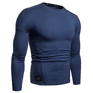 Majica s rukavima Muškarci - Osnovni Izlasci / Vikend Pamuk Jednobojni Okrugli izrez Crn / Dugih rukava