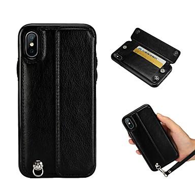 Θήκη Za Apple iPhone XS / iPhone XR / iPhone XS Max Utor za kartice / Otporno na trešnju / sa stalkom Stražnja maska Jednobojni Tvrdo PU koža