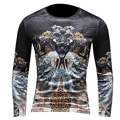 Veći konfekcijski brojevi Majica s rukavima Muškarci - Aktivan / Ulični šik Dnevno / Klub Color block Okrugli izrez Slim, Vezeno / Print / Dugih rukava / Zima
