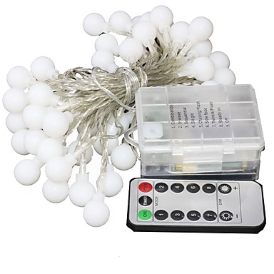 5m Žice sa svjetlima 50 LED diode High Power LED 1 13Ključuje daljinski upravljač Toplo bijelo / RGB Party / Vjenčanje / Božićni vjenčani ukrasi AA baterije su pogonjene 1set