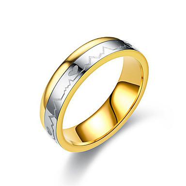 Par je Prsten prsten Prstenovi za utore 1pc Zlato Titanium Steel Cirkularno dame Jednostavan Klasik Vjenčanje Dar Jewelry Klasičan Dvobojna Srce Prijateljstvo Heart Lijep
