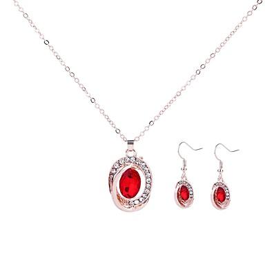 Žene Kubični Zirconia Viseće naušnice Ogrlice s privjeskom Svadbeni nakit Setovi dame Jednostavan pomodan Moda Umjetno drago kamenje Naušnice Jewelry Dark Blue / Crvena / Crvena Za Večer stranka