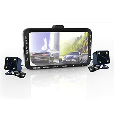 720p Night Vision / Dvojna leća Auto DVR 90 stupnjeva Široki kut CMOS senzor 3 inch LED Dash Cam s G-Sensor / Kontinuirano snimanje / Odgoda isključivanja 4 infracrvene LEDice Car Recorder