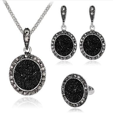 Žene Crn Kubični Zirconia Vintage ogrlica Retro dame Vintage Naušnice Jewelry Pink Za Party Dnevno 1set