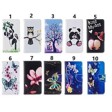 Недорогие Чехлы и кейсы для Nokia-Кейс для Назначение Nokia Nokia 8 / Nokia 7.1 / Nokia 5.1 Кошелек / Бумажник для карт / Защита от удара Чехол Бабочка / Мультипликация / Панда Твердый Кожа PU
