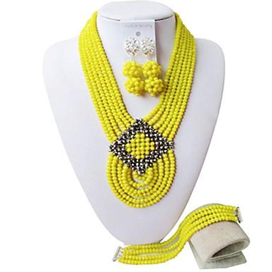 Žene Strands Ogrlica Više slojeva dame Moda Austrijski kristal Naušnice Jewelry Braon / Crvena / Jarko ružičasto Za Party