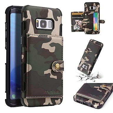 voordelige Galaxy S-serie hoesjes / covers-hoesje Voor Samsung Galaxy S8 Plus / S8 Portemonnee / Kaarthouder / Schokbestendig Achterkant Camouflage Kleur Zacht PU-nahka