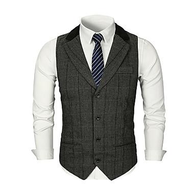رخيصةأون سترات و بدلات الرجال-رجالي بني رمادي غامق L XL XXL Vest الأعمال التجارية / أساسي لون سادة / منقوش بقع V رقبة / بدون كم / عمل / رسمي
