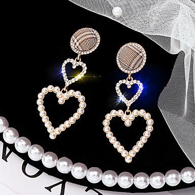 Žene Viseće naušnice Poveznica / lanac dame Korejski Biseri Umjetno drago kamenje Glina Naušnice Jewelry Zlato Za Dnevno 1 par