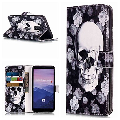 voordelige Huawei Mate hoesjes / covers-hoesje Voor Huawei Mate 10 / Mate 10 pro / Mate 10 lite Portemonnee / Kaarthouder / met standaard Volledig hoesje Doodskoppen Hard PU-nahka