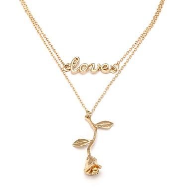 Žene Ogrlice s privjeskom Uže Cvijet dame Umjetnički Romantični Elegantno Kamen Legura Zlato 30 cm Ogrlice Jewelry 1pc Za Škola Festival