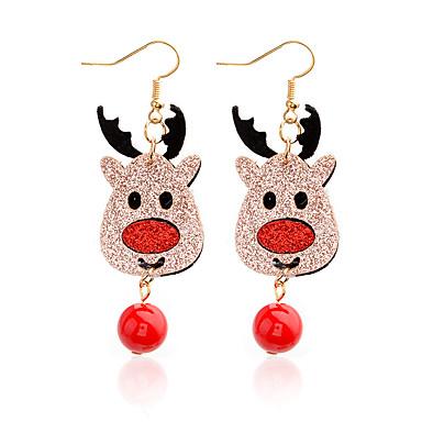 رخيصةأون أقراط-نسائي أقراط قطرة خرز Elk أيل سيدات مخصص كرتون لطيف الأقراط مجوهرات ذهبي من أجل عيد الميلاد مهرجان 1 زوج