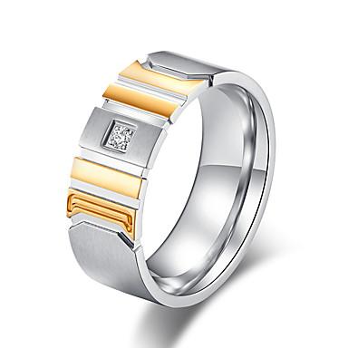 Muškarci Band Ring Prsten Prstenovi za utore Kubični Zirconia 1pc Crn Zlato nehrđajući Jednostavan Osnovni pomodan Rad Ured i karijera Jewelry Klasičan Dvobojna Cool