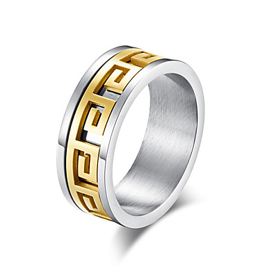 رجالي عصابة الفرقة خاتم حلقات الأخدود 1PC ذهبي أسود ستانلس ستيل أنيق أساسي شائع مناسب للبس اليومي شارع مجوهرات كلاسيكي لونين كوول